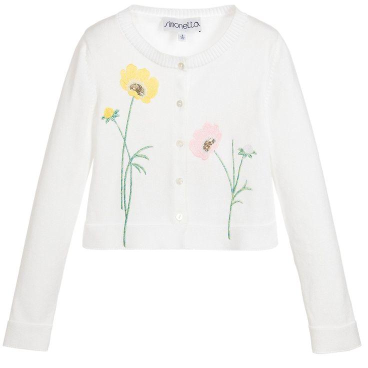 Simonetta Girls White Embroidered Cardigan at Childrensalon.com
