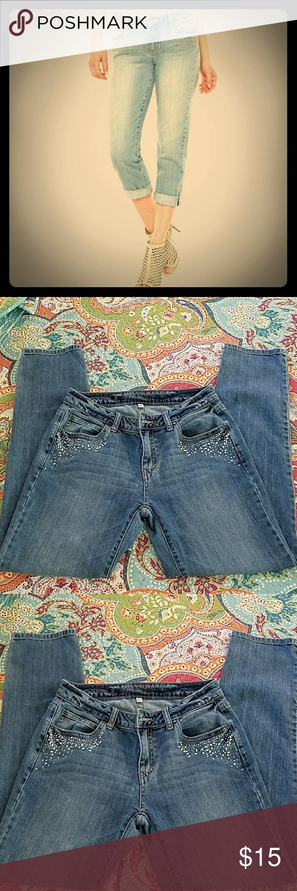 Jennifer Lopez Boyfriend jeans with Embellishments Great comfy go anywhere and do anything Boyfriend jeans with the cutest subtle rhinestone embellishments   size 2L.   Might have been worn once. Jennifer Lopez Jeans Boyfriend