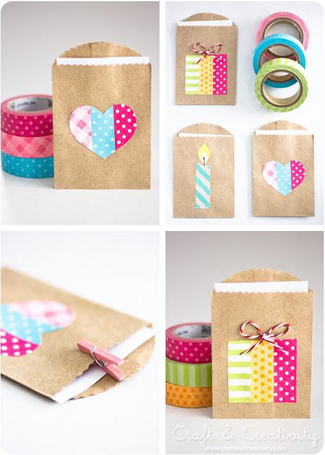 Washi tape ideas on Small gift bags diy