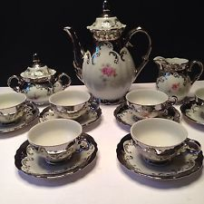 Bavarian China Silver Trim Tea Set with Creamer and Sugar Bowl
