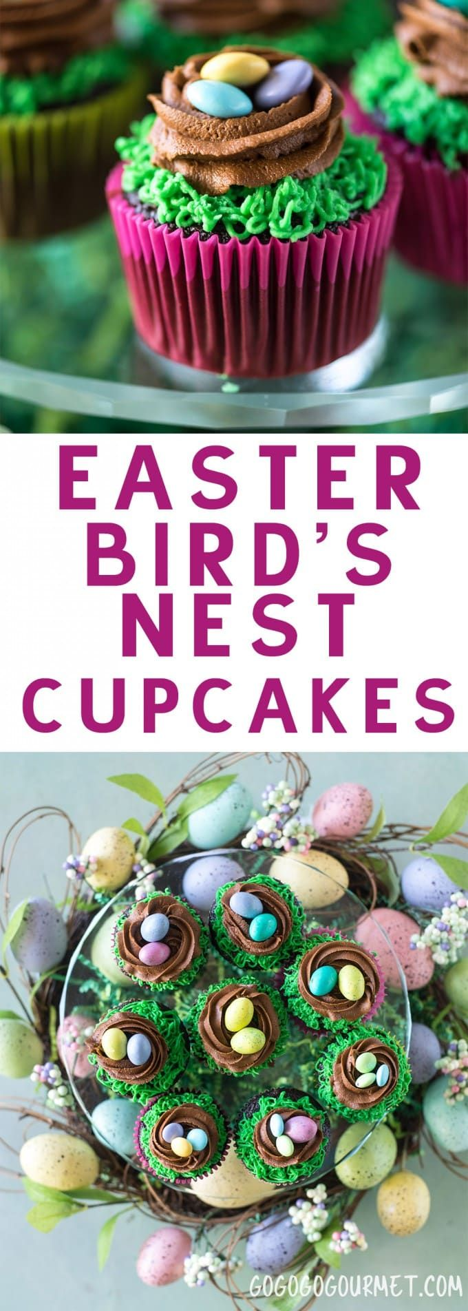 These Easter Birds Nest Cupcakes are an adorable and easy dessert to make for your Easter egg hunts! Two quick decorating maneuvers and some Easter candy are all that it takes! via @gogogogourmet