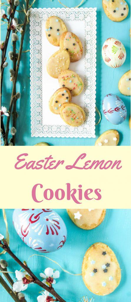Easter cookies in the shape of an egg, topped with lemon glaze  #lemoncookiesrecipe #easterlemoncookieswithlemonglazerecipe #easterdessert #lemonglaze #lemonshortbreadrecipe