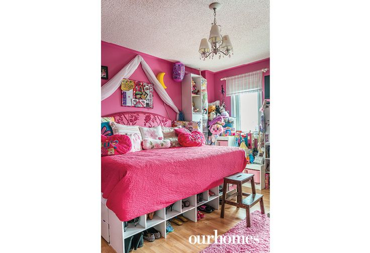 "One daughter's room has a bed built out of closet organizers so that she can store her shoes and clothing underneath.   See more of this home in ""A Master of DIYs Creates an Eclectic Family Space"" from OUR HOMES Barrie Summer 2016 http://www.ourhomes.ca/articles/build/article/a-master-of-diys-creates-an-eclectic-family-space"