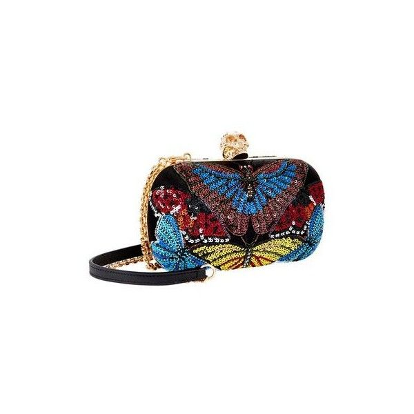 Alexander McQueen Butterfly Embellished Clutch ($1,160) ❤ liked on Polyvore featuring bags, handbags, clutches, 2016 bag, skull purse, sequin handbags, beaded handbags, skull handbag and skull clutches