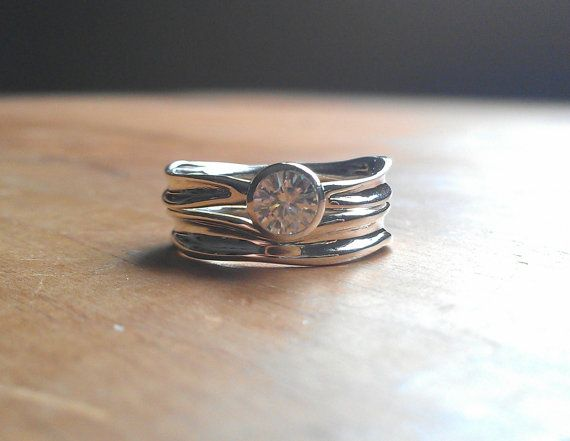 Moissanite Engagement Ring in Recycled Silver - Rustic Engagement Ring - Diamond Alternative on Etsy, $433.48