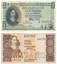 south africa currency | Old South African currency featuring Jan van Riebeeck