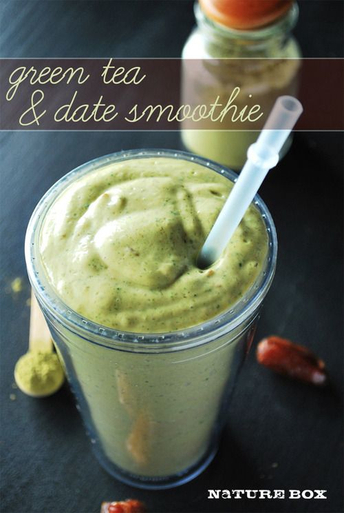 Green Tea & Date Smoothie: 3-5 medjool dates (depending on desired sweetness)*, 1.5 Tbsp matcha green tea powder, 1/2 ripe avocado, 1 cup chilled coconut milk beverage, or light canned, 1/2 ripe banana, previously peeled, sliced and frozen