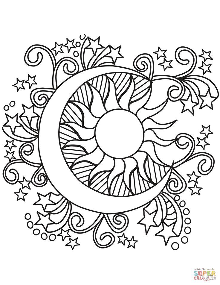 Pop Art Sun Moon And Stars Coloring Page Free Printable