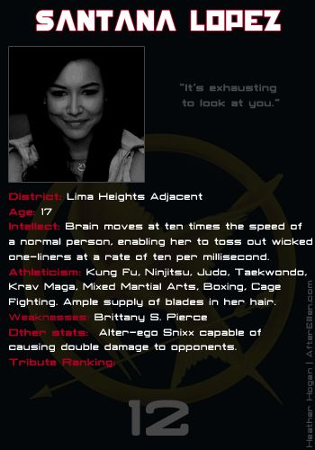 What would happen if the Glee girls and Pretty Little Liars went in the Hunger Games? Santana Lopez score card. My moneys on her.
