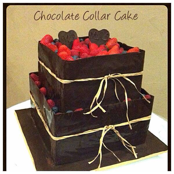 Dark chocolate tempered collar with fresh fruits...