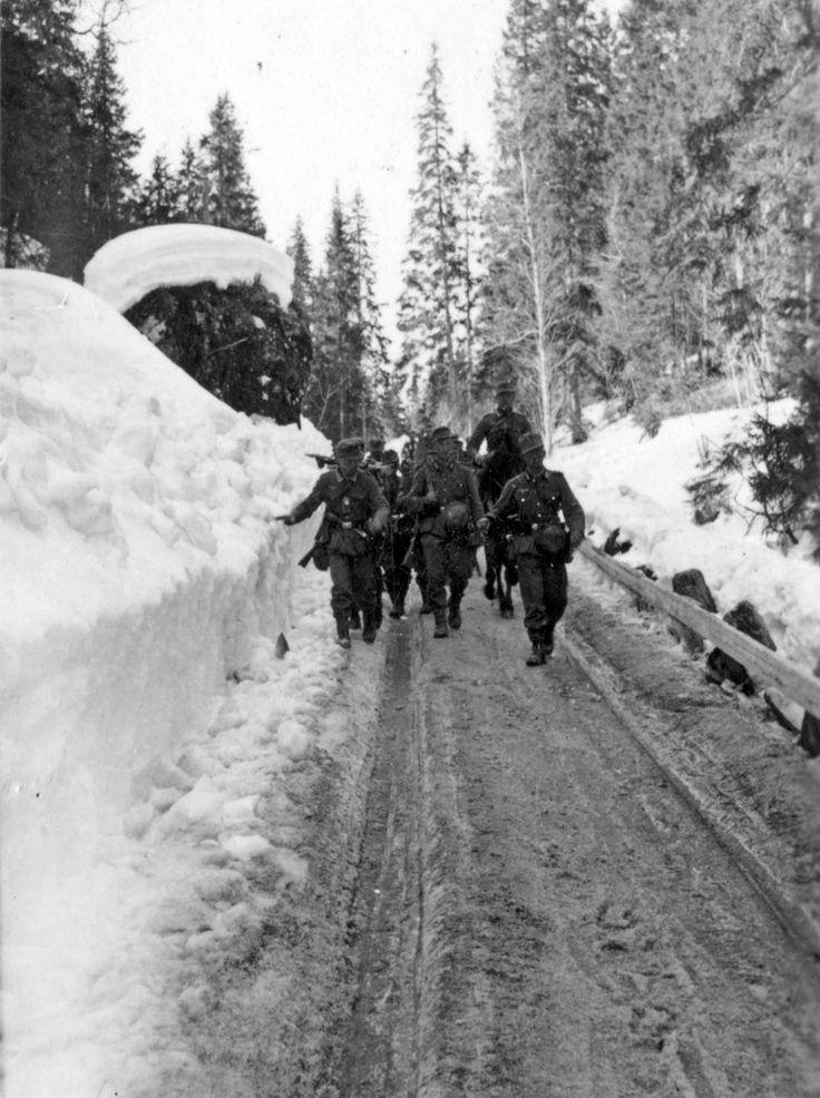 Gebirgsjäger marching towards Snasaheia from Grong. Photograph by Karl Marth. May 4/5, 1940. Snasaheia, Norway.