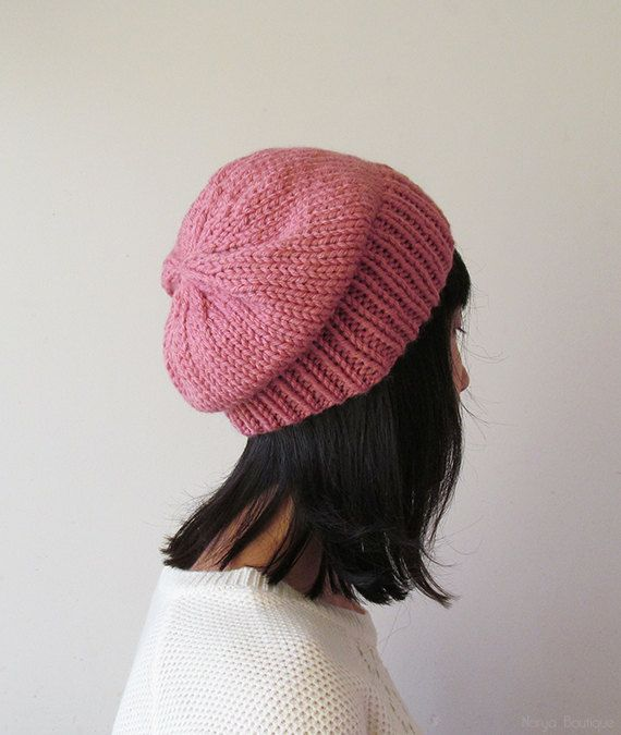 Rose Pink Slouchy Hat Pink Knit Chunky Slouch Hat by naryaboutique