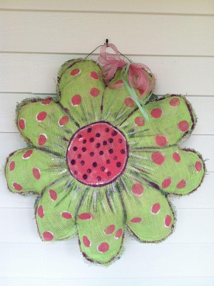 Flower burlap door hanger & 1130 best Burlap - decor door hangers images on Pinterest ... pezcame.com