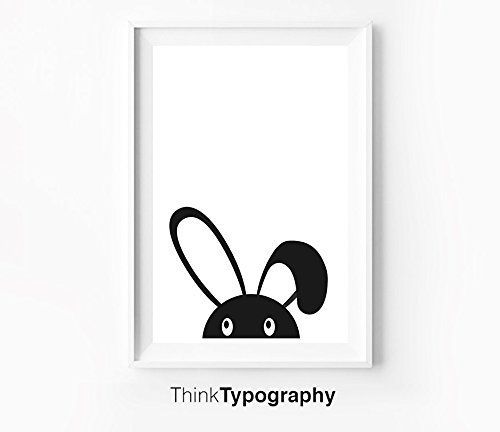 Scandinavian Bunny Illustration, Nursery Art, Black and White, Kids, Children's…