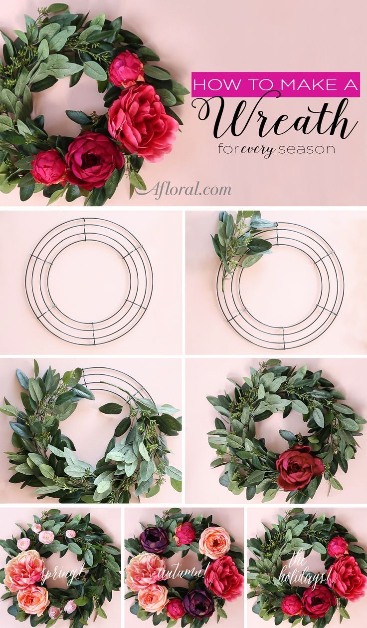 Looking for ways to decorate your home for every season?  Follow this simple DIY and learn how to make a wreath for your door.  This wreath tutorial will show you how to use artificial eucalyptus and silk flowers from http://Afloral.com to create a decoration you can update throughout the year.
