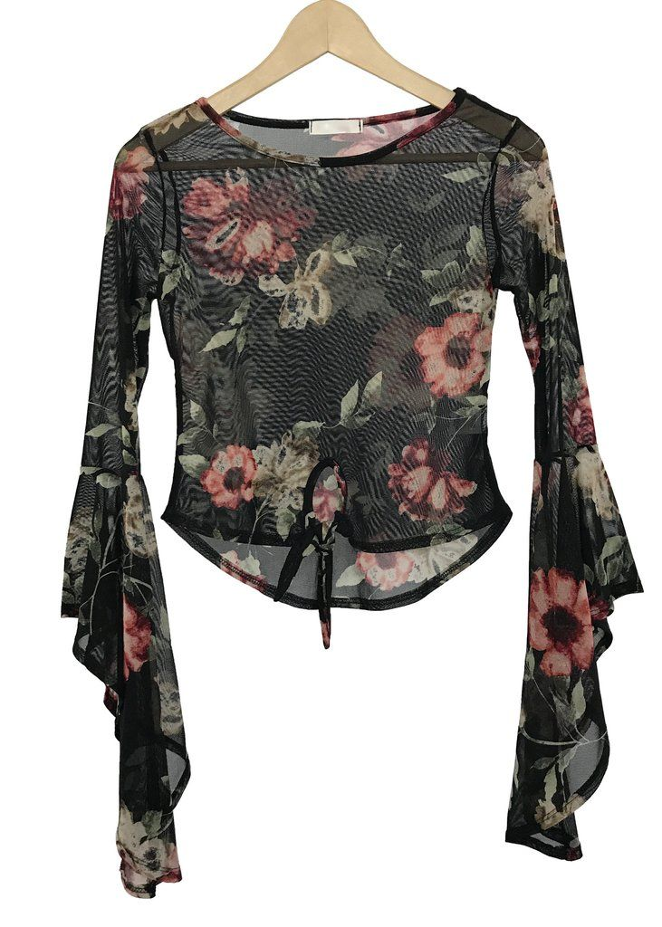 floral mesh knotted crop top