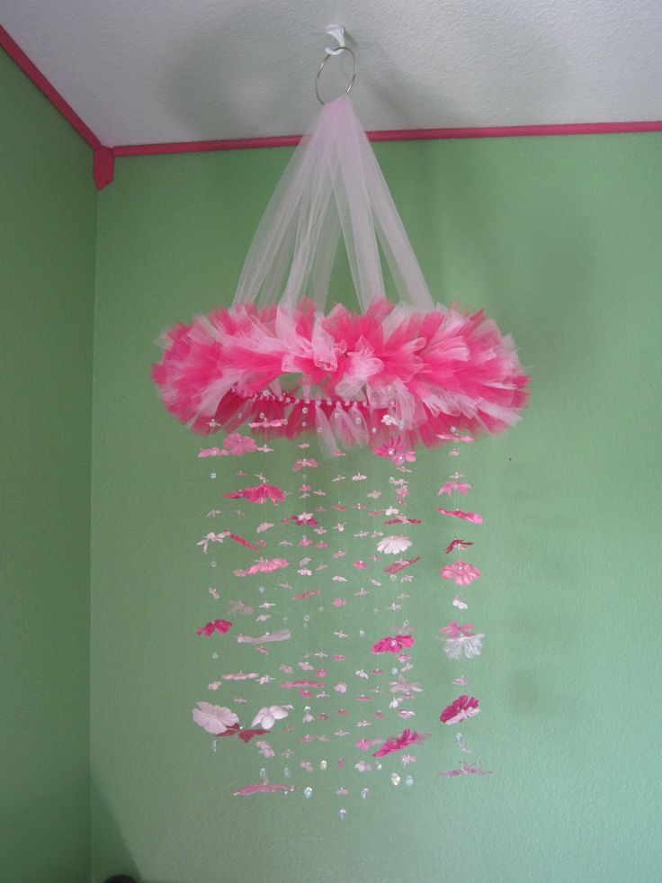 Pink Baby Crib Mobile with Silk Flowers and by BairBoutique, $55.00