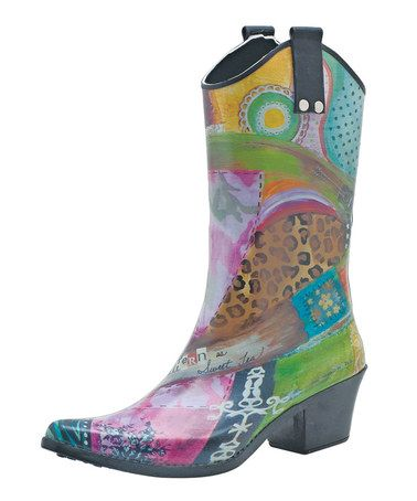 Take a look at this Pink & Yellow Southern Sass Cowboy Rain Boot by Bops! on #zulily today!