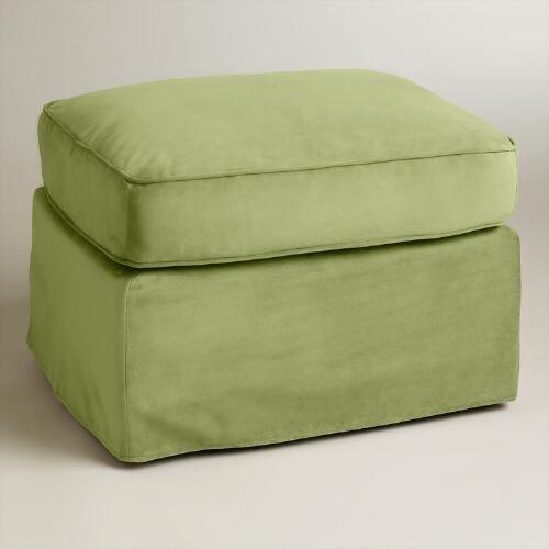 Oregano Green Velvet Loose-Fit Luxe Ottoman Slipcover | World Market