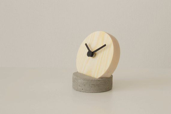 Wooden Table Clock With Concrete Stand Handmade Desk Clock