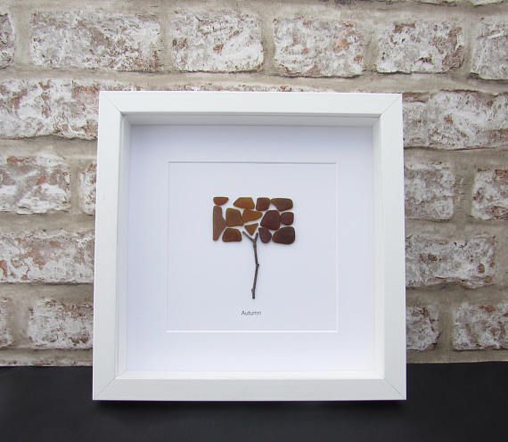 Pebble pictures autumn tree fall gift for him gift for