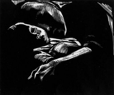Sleeping Woman with Child Käthe Kollwitz, woodcut (8 July 1867 – 22 April 1945)