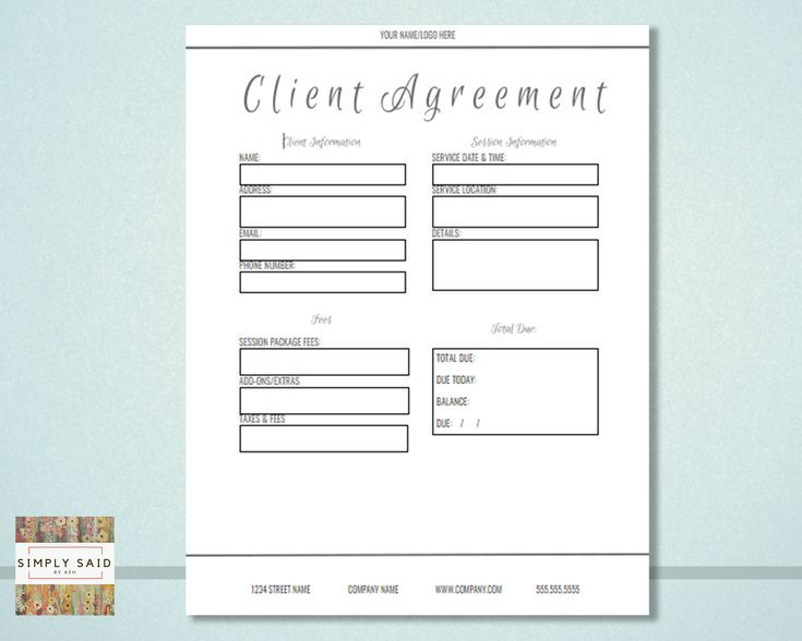 Photography Client Agreement Form Editable Instant Download Etsy Photography Business Forms Client Questionnaire Wedding Photography Contract