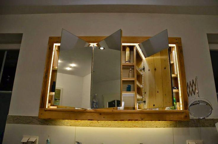 Muebles de Palets: Mueble para el lavamanos y espejo realizado con palets