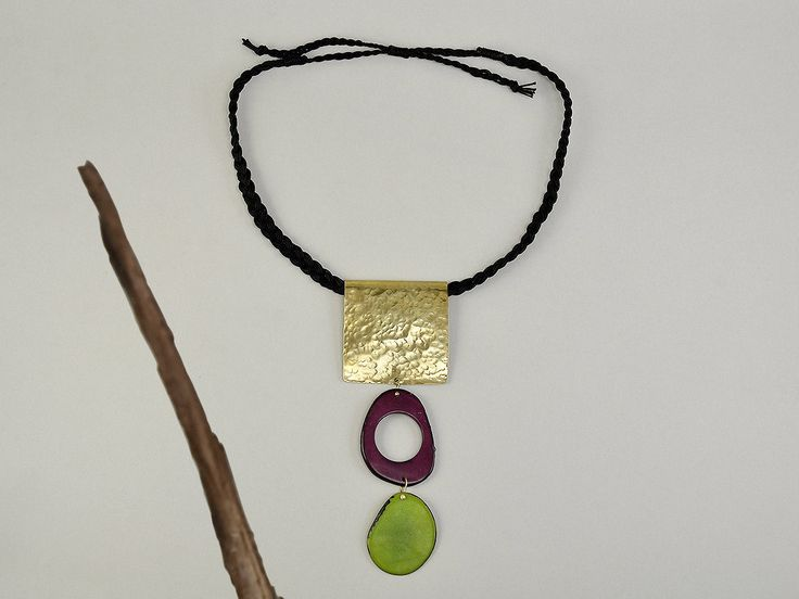 Tagua necklace, large pendant necklace, big chunky necklace, green purple jewelry, boho chocker, statement collar, Christmas gift for her by ColorLatinoJewelry on Etsy