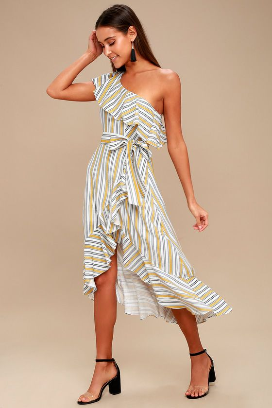 High Tide Yellow Striped One Shoulder Midi Dress In 2018 Want Want