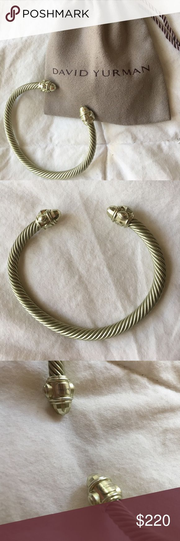 Limited Edition Aluminum David Yurman Bracelet ***FINAL PRICE DROP***Limited Edition aluminum David Yurman bracelet. The color is celedon, a light green. It is in excellent used condition. No major wear or tear. Comes with David Yurman pouch. No trades. This is the best prices on Poshmark for this style of bracelet.  Item listed on other sites I will delete as soon as it sells. David Yurman Jewelry Bracelets