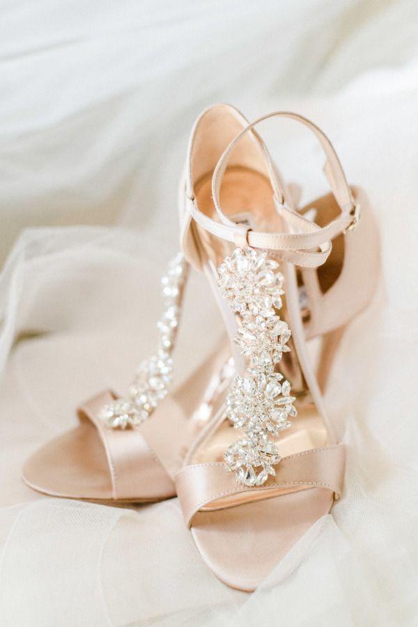 Champagne embellished heels: http://www.stylemepretty.com/new-jersey-weddings/gladstone-new-jersey/2017/03/08/blush-gold-golf-club-wedding/ Photography: Christy Nicole - http://christynicole.com/
