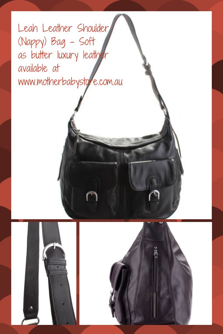 Luxuriously soft leather nappy bag available at www.motherbabystore.com.au