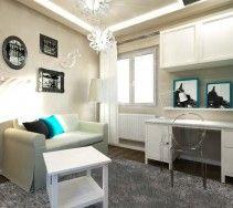 """Białe, stylowe meble w wnętrzu pokoju wykonanego w tzw. stylu """"glamour"""" przeznaczonym dla młodej i wymagającej nastolatki."""