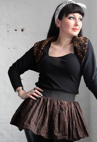 Pretty Disturbia brown striped punk grunge skater mini skirt from Pretty Disturbia £12.59