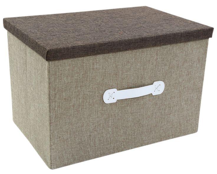 Natural Jute Portable Storage Box - Archival Craft Closet Bedroom Organization - Closet Box - 18 x 12 x 12 inches - Shades May Vary