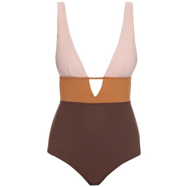 Zimmermann Chroma Sculpted swimsuit (€350) ❤ liked on Polyvore featuring swimwear, one-piece swimsuits, brown multi, swimming costume, swim suits, bathing suit swimwear, brown bathing suit and brown one piece swimsuit