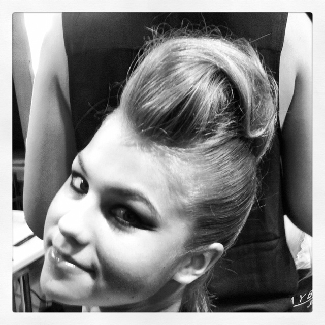 Softened faux hawk and bat wing eyes at Irene Luft S/S 2013 backstage: Hair Styles, Makeup, Bat Wings, Faux Hawk, Faux Mohawks