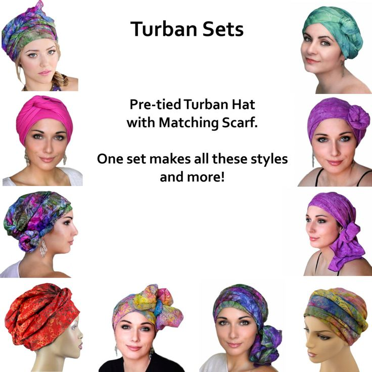 Turban Diva Purple Blue Turquoise Turban Chemo Hat, Head Wrap, Alopecia Scarf, Boho, Pretied Turban, Chemo Turban, Hat & Scarf Set   – Turban headwrap