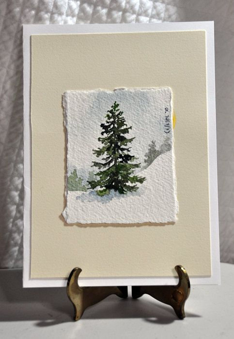 Original Miniature Watercolor Painting Winter Tree by celestesneed, $23.00/ Love this size!