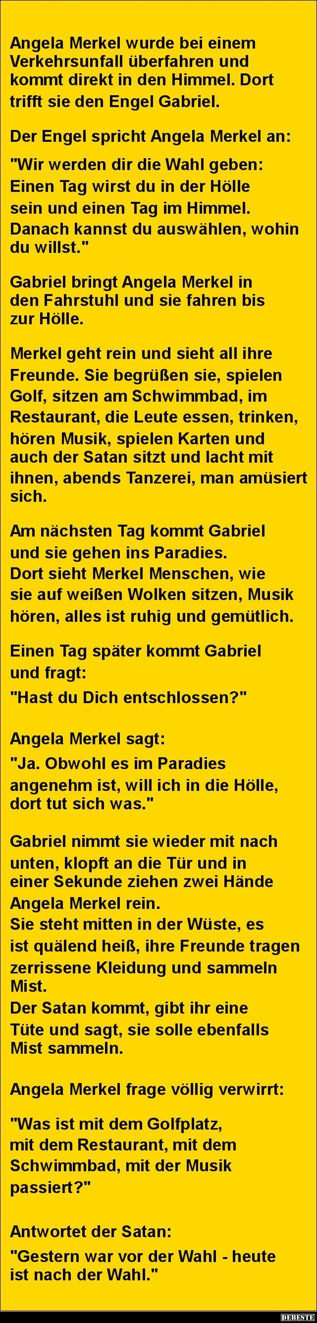 Angela Merkel wurde bei einem Verkehrsunfall überfahren.. | DEBESTE.de, Lustige…