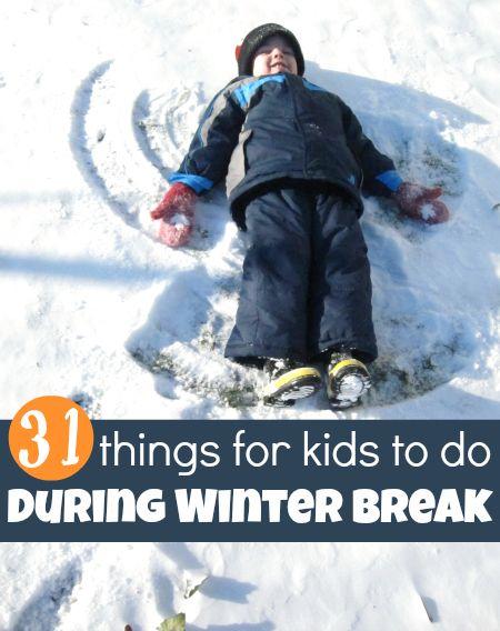 31 easy and frugal winter break activities for kids.