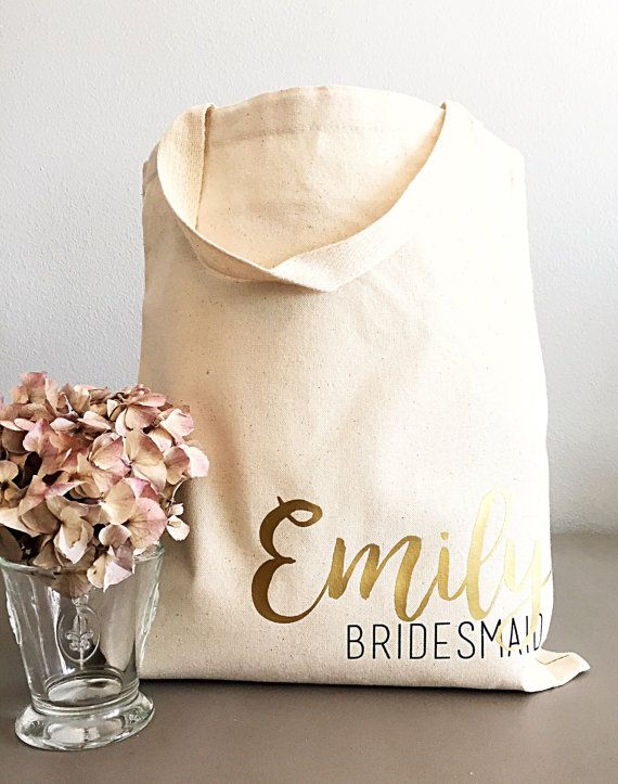 Custom Tote Bags Personalized Bag Name And Title Bridesmaid Gifts