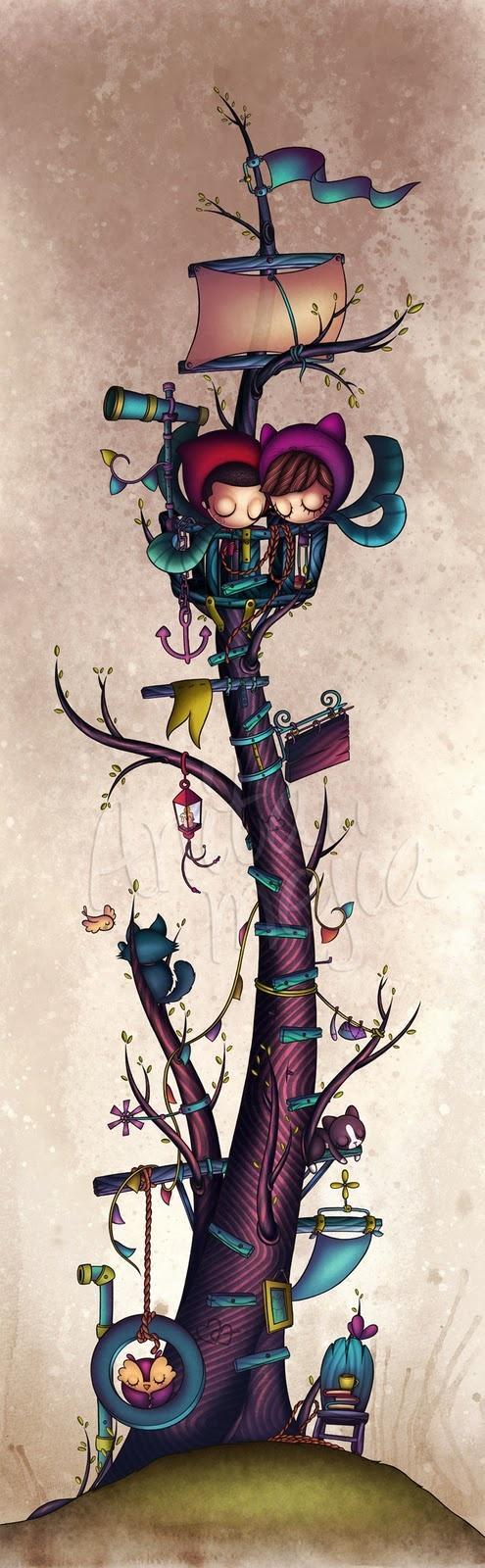 Anita Mejia - Un Arbol bonito dibujo y apenas descubri sus trabajos son muy padres, es un Orgullo q es Mexicana como yo.