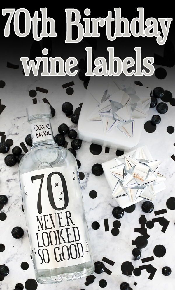 Black And Silver 70th Birthday Metallic Foil Wine Bottle Labels Use These To Make Party Decorations