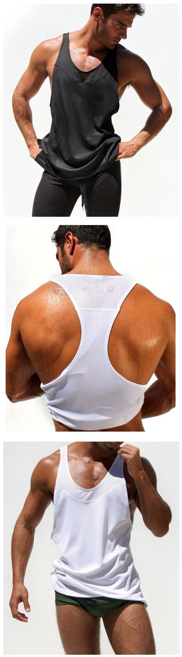 New Men's Extreme Racer Tees Vigor Tank tops Low Cut Arm Holes Vest bodybuilding On Sale Free Shipping