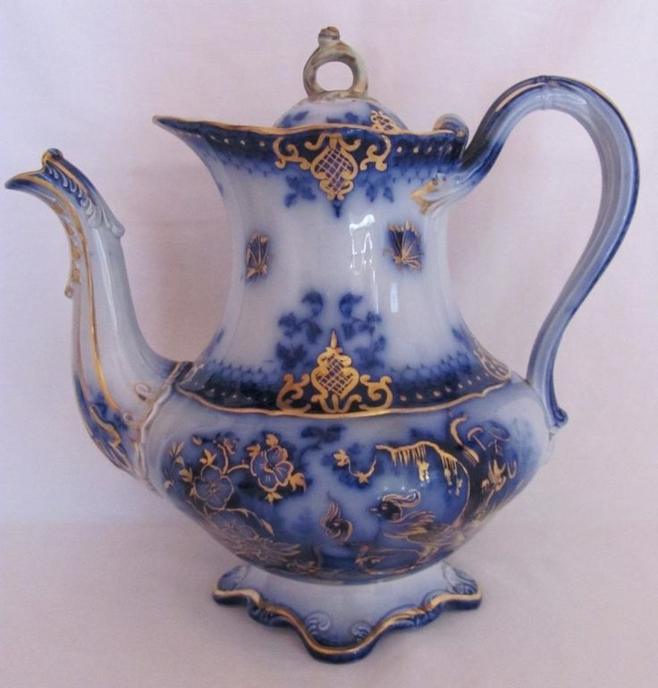 Flow Blue Coffee Pot India Pattern V&B Villeroy and Boch c.1800's Split Handle | #1831331242
