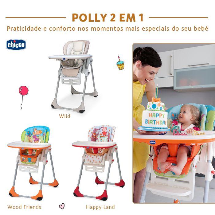 POLLY 2 EM 1: Praticidade e conforto nos momentos mais especiais do seu bebê.  Para bebês a partir dos 6 meses de idade, a cadeira de alimentação Polly 2 em 1 é ideal para as primeiras papinhas, além de ser super fácil de limpar, possui um redutor acolchoado que garante o máximo conforto.  Possui 7 posições diferentes de altura e é possível utilizá-la como uma cadeira de sociabilização da criança à mesa durante as refeições familiares.