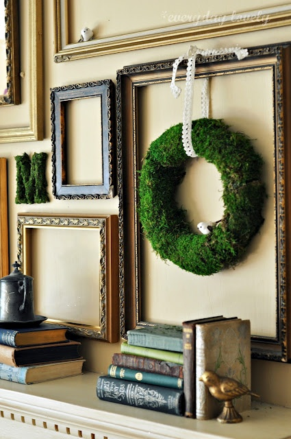 This gives me an idea. What if I make a collage of magazine cutouts on the wall, then put some empty frames over them - but not matching the frames up to the pictures.