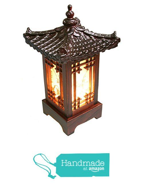 Korea Traditional Square Roofing Tile Mini Bed Lamp Interior Mood Stand (220V)…